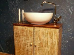Mobilier baie din lemn reconditionat (Dulap/Comoda/Masca/Lavoar)