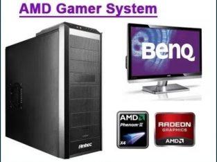 Sistem PC Monitor AMD 3GHz 4GB placa video HD 5770 HDD 500GB SSD 1282