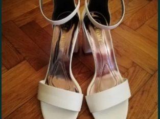 Sandale albe de dama, marimea 38, cu toc gros