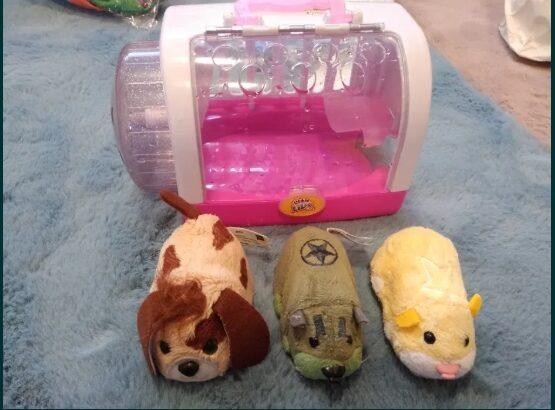 Lot 4 jucării. Zhu zhu pets + cutie hamster + cățel For real pets