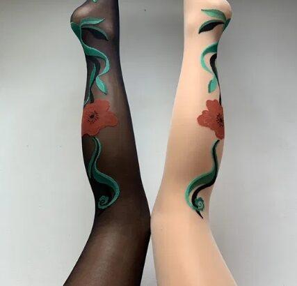 Ciorapi Philippe Matignon cu imprimeu floral