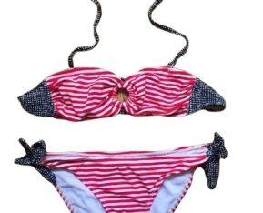 Costum de baie Nou USA 2019 dungi rosii ALDO stil H&M Victoria Secret