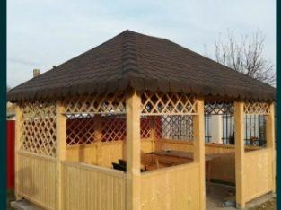 Foisor pergola terasă lemn gratare caramida