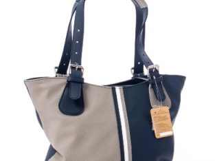 Geanta multicolora dama By Tommy piele, bleumarin si gri – Real Leather