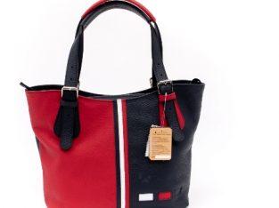 Geanta multicolora, de dama , By Tommy, din piele bleumarin cu rosu – Real Leather