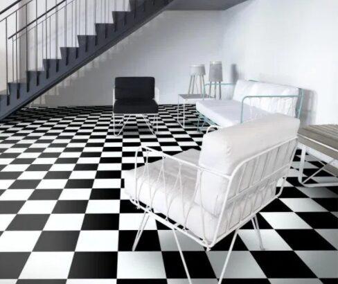 Linoleum model alb-negru Șah, Linoleuri noi de vânzare, cu Transport