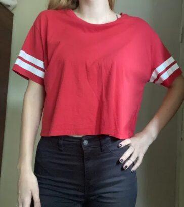 Tricou M, rosu cu dungi H&M