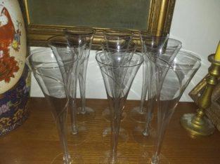 Set pahare sampanie cu fir de aur-9buc- 100lei