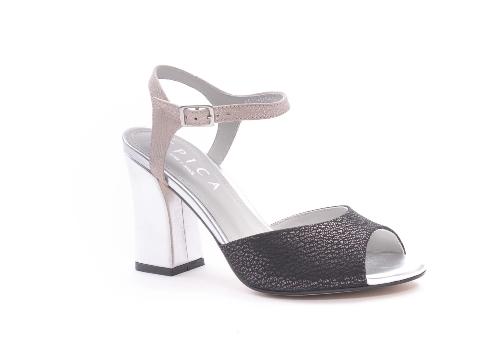 Sandale dama elegante piele naturala Epica oe6612 negru-argintiu – Epica