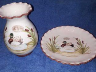 Set ceramica Italia – farfurie decorativa si vaza – hand made