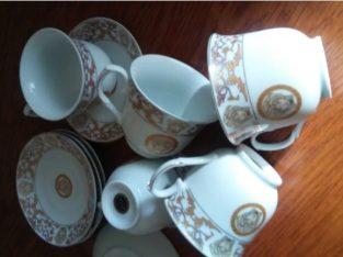 Set portelan Da Vinci collection gold 24k 5buc cesti ceai cu farfurii