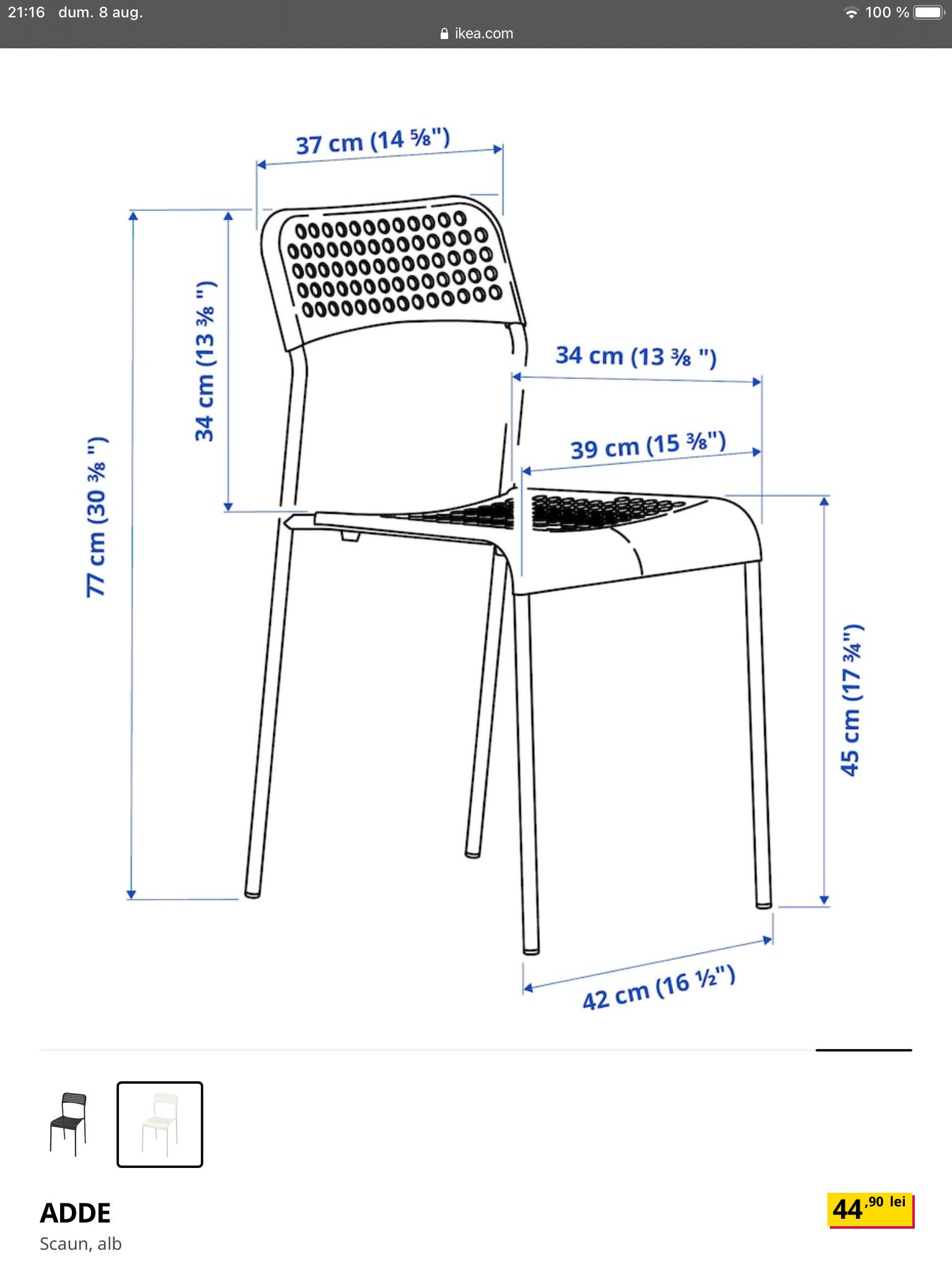 Scaun ADDE alb IKEA